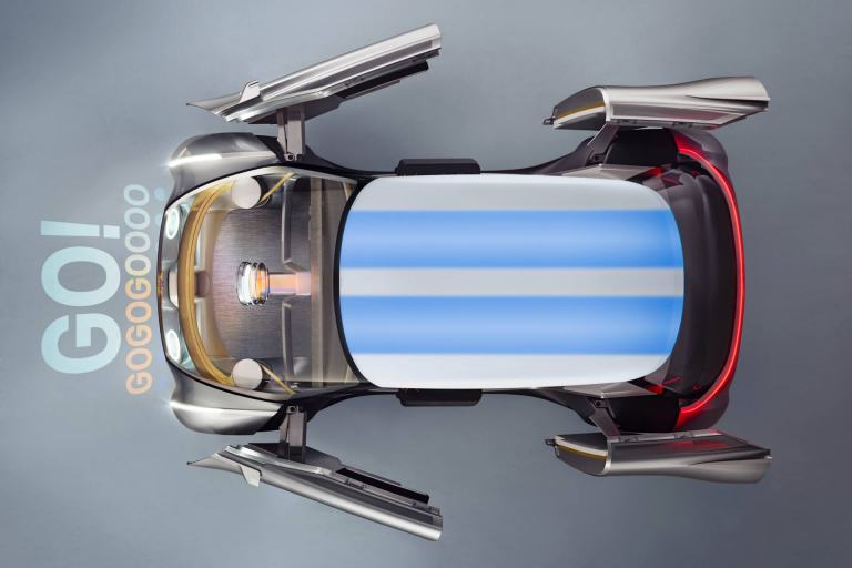 MINI VISION NEXT 100 viewed from above with doors open. GO! GOGOGOOOO