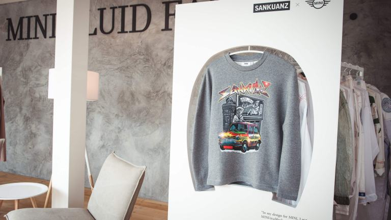Sweatshirt by SANKUANZ for the MINI FLUID FASHION Capsule Collection collective at Pitti Uomo 90.