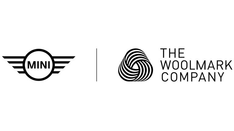 The Woolmark Logo next to the MINI Logo on white background.