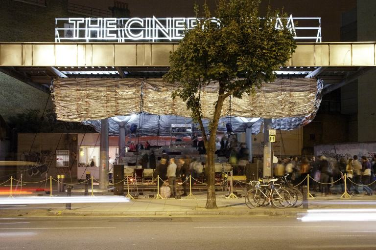 The Cineroleum, by London's Assemble collective transformed a petrol station on Clerkenwell Road into a cinema.