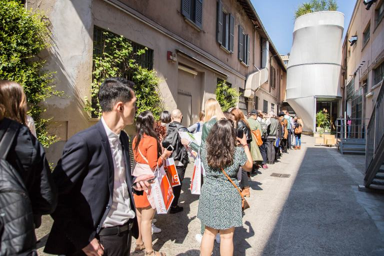 The queue to get into the 'Breathe' installation at Salone del Mobile 2017.